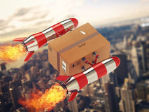 Fast delivery of package by turbo rocket. 3D Rendering Stock Images