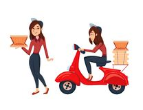 Fast Delivery pizza food service with courier. Isolated Vector cartoon female character illustration. Delivery woman vector illustration