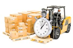 Fast delivery and shipping concept, 3D rendering. Isolated on white background Royalty Free Stock Images