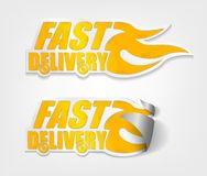Fast delivery stickers with curl sets Stock Photos