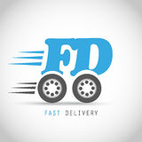 Fast delivery symbol on wheels. Abstract design Stock Photos