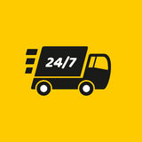 Fast delivery. Truck icon on yellow background. It can be used for a website, mobile application, presentation, corporate identity design, wherever you decide royalty free illustration