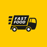 Fast delivery. Truck icon on yellow background. It can be used for a website, mobile application, presentation, corporate identity design, wherever you decide vector illustration
