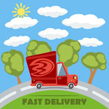 Fast delivery van truck with fire vinyl logo. Vector. Fast delivery van truck with fire vinyl logo on the road with trees, clouds and sun. Vector concept Stock Photography