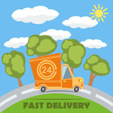 Fast delivery van truck with 24 hour vinyl logo. Vector. Fast delivery van truck with 24 hour vinyl logo on the road with trees, clouds and sun. Vector template Stock Photos