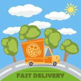 Fast delivery van truck with pizza vinyl logo. Vector. Royalty Free Stock Photography