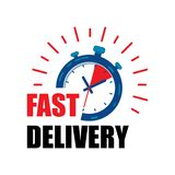 Fast delivery watch service with red arrows. Express fast delivery service stopwatch icon vector eps10.  fast Delivery watch icon. stock illustration