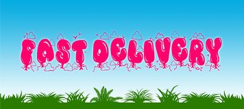 FAST DELIVERY written with pink balloons on blue sky and green grass background. Royalty Free Stock Photo