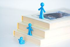 Fast Development Concept, Kids Evolution On Ladder Of Books Royalty Free Stock Photography