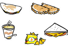 FAST DINNER FOOD illustrations. Hand maiden Illustrations shows several pieces of fast food or snacks within a clean style and a calligraphic outline strokes Royalty Free Stock Images