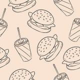 Fast dood burger and soda seamless pattern vector illustration