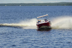Fast drive in the lake Royalty Free Stock Photography