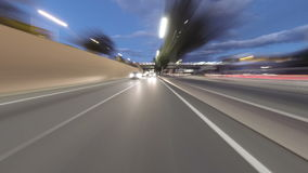 Fast driving for Barcelona.Time Lapse, rear view stock video footage