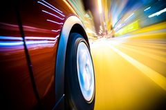 Fast Driving Car. Through the City. Long Exposure Photography. Speeding Car Motion Blur Stock Image