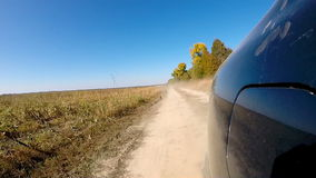 Fast driving a car in the countryside. stock video