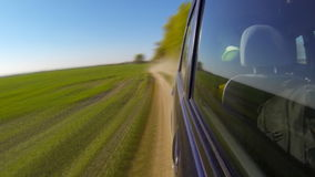 Fast driving a car in the countryside Timelapse. stock footage