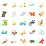 Fast driving icons set, cartoon style Royalty Free Stock Photo