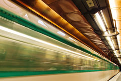 Fast driving metro in motion blur Stock Photography