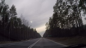 Fast driving through non urban highway. Windscreen view on fast driving through non urban highway stock footage