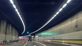Fast driving in St Gotthard tunnel.Time lapse. Royalty Free Stock Images