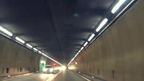 Fast driving in St Gotthard tunnel.Time lapse. stock footage