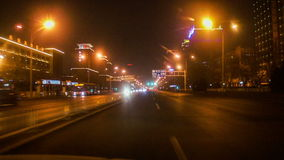 Fast driving street at night of Beijing, China. Driving along famous East Changan Avenue at night in Beijing, China stock footage