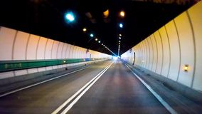 Driving in tunnel timelapse. Mont Blanc Tunnel. Fast driving in tunnel timelapse. Mont Blanc Tunnel 4K stock video