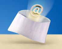 Fast e-mail. Email symbol flying out from a traditional mail envelope. Digital illustration Stock Photography