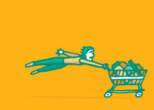 Fast easy online buying consumerism. Costumer being pulled by fast shopping kart Royalty Free Stock Photo
