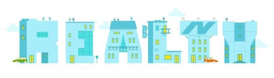 Fast egendom - ordillustrationen Alfabetbokstav-byggnader Arkivfoton