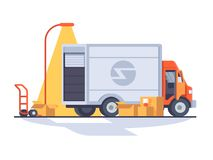 Fast express delivery. Van for transporting cargo. Vector flat illustration Royalty Free Stock Images