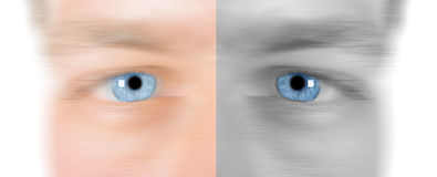 Fast Eye. Image showing sharp blue eye with softened skin to allow for copy space. Short DOF Royalty Free Stock Photo