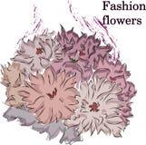 Fast Fashion sketch of fabulous purple flowers stock illustration