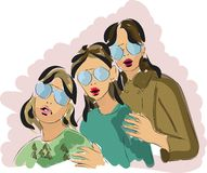 Fast fashion sketch of three young woman vector illustration