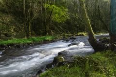 Fast in the river. A fast, fast or sliding is a section of a river where the channel has a relatively steep slope causing an increase in the speed and turbulence Royalty Free Stock Photography