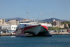 Fast ferry ship in Tarifa, Spain Royalty Free Stock Image