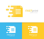 Fast file logo combination. Speed document symbol or icon. Unique page and note logotype design template. Logo or icon design element for companies Stock Images