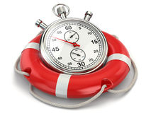 Fast first help. Stopwatch in lifebuoy. 3d Stock Image