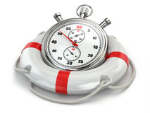 Fast first help. Stopwatch in lifebuoy Royalty Free Stock Image