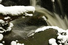 Fast flödande flodbanker som täckas i snö- och iskristaller Royaltyfri Fotografi