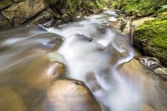 Fast flödande flodström med slätt silkeslent vatten som faller från stora stenar i härliga vattenfall på ljus solig sommardag royaltyfria foton