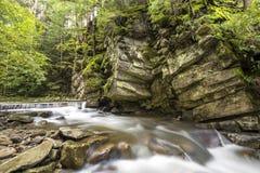 Fast flödande flodström med slätt silkeslent vatten som faller från stora stenar i härliga vattenfall på ljus solig sommardag royaltyfri bild