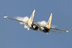 Fast flight. Show aerobatic aircraft Su 27 at air show Stock Image