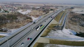 Fast flight above highway ,aerial view stock video