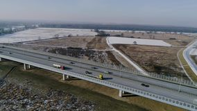 Fast flight above highway ,aerial view stock video footage