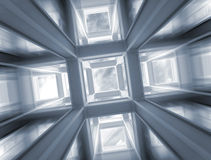 Fast flight through abstract construction to sky. 3d abstract architecture blue background. Fast flight with motion blur through modern braced construction Stock Image