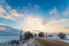 Fast floating clouds winter roads Stock Image