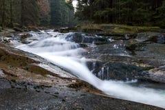 Fast-flowing νερό, γραφικές θολωμένες μορφές της μετακίνησης νερού δύσκολες ακτές όμορφο ρεύμα στο δάσος Στοκ εικόνα με δικαίωμα ελεύθερης χρήσης