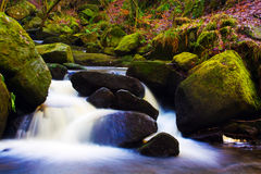 Fast flowing brook. A fast flowing brook  cascading over rocks Stock Photos