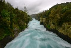 Fast flowing Huka Falls in Taupo Stock Images